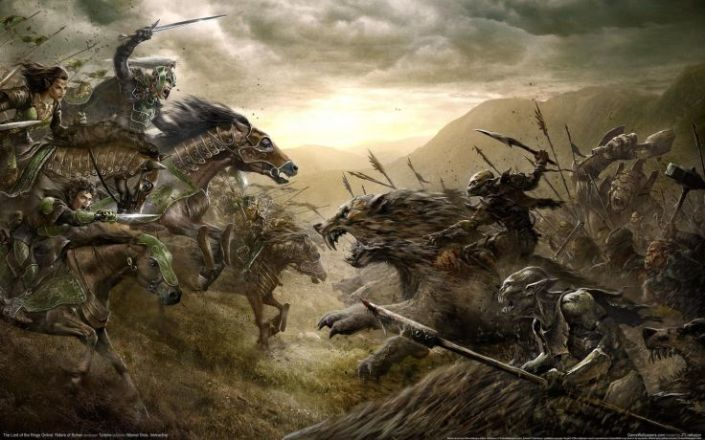 battle scene, elves, orcs, fantasy battle, fantasy war, Lord of the Rings, fight scene, swords, spears, fantasy