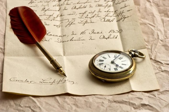 reading, writing, pen, paper, feather, pocket watch, scroll, victorian, fantasy, gothic, steampunk, letter,