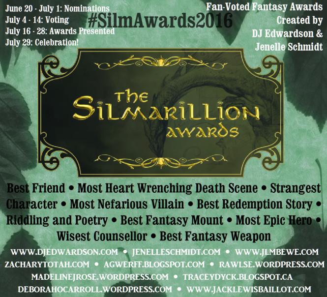 SilmAward2016Infographic, Fantasy Oscars, Silmarillion Awards, Jenelle Schmidt, DJ Edwardson, Deborah O'Carroll, LOTR, Lord of the Rings, Fellowship of the Ring, books award, books, reading, summer reading, book fest,