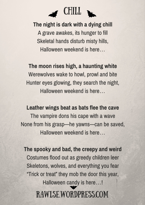 Halloween, autumn, bats, night, poem, dark, spooky, creepy, vampire, werewolves, skeletons, story, chill, e e rawls, wordpress,