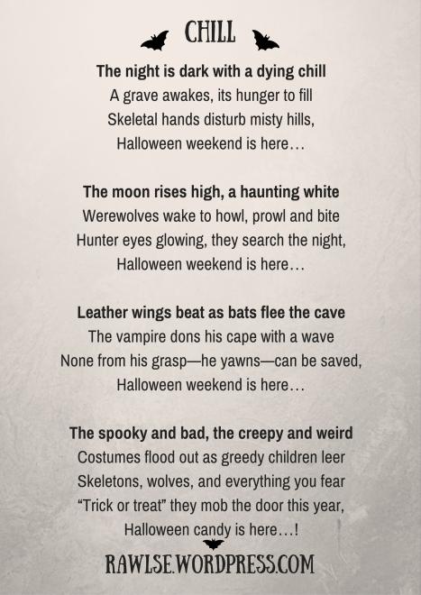 Halloween, autumn, bats, night, poem, dark, spooky, creepy, vampire, werewolves, skeletons, story, chill, e e rawls, wordpress,