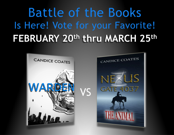 Warden, Nexus Gate, The Animal, author Candice Coates, writer, blogger, battle of the books, books, vote, favorite, Candice, science fiction books, futuristic books,