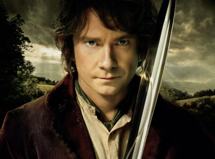 Bilbo Baggins, The Hobbit, LOTR, Tolkien, author blog, books, Martin Freeman, fantasy, sword, clouds, hobbit, book nerd, old fashion, brown hair, man,
