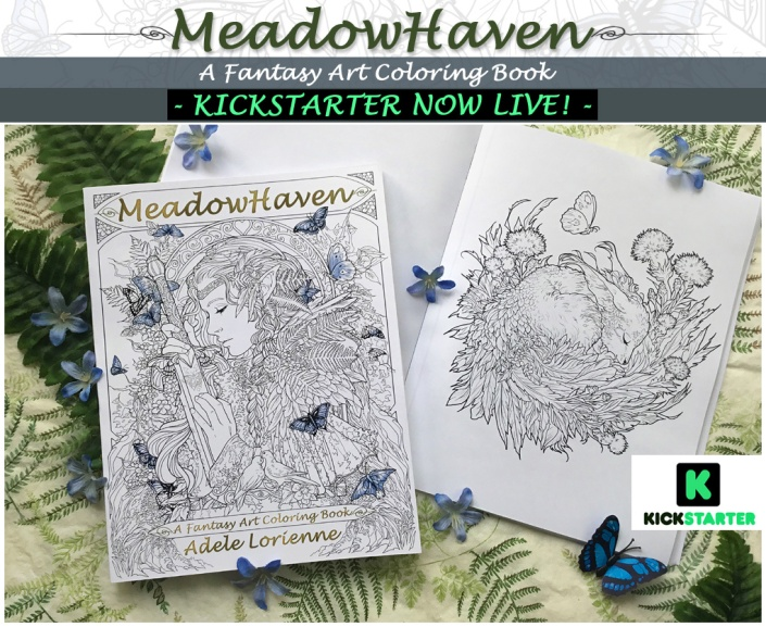 Meadowhaven, Adele Lorienne, coloring book, fantasy, nature, fairies, fantasy art, butterflies, art books, watercolors, colored pencils, all media art, fantasy art coloring book,