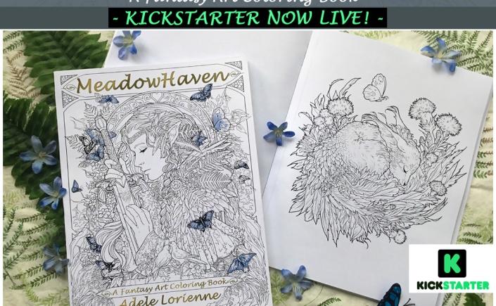 Meadowhaven, Adele Lorienne, coloring book, fantasy, nature, fairies, fantasy art, butterflies, art books, watercolors, colored pencils, all media art, fantasy art coloring book,