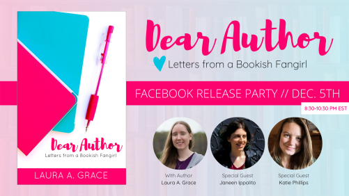 Facebook book party, December book party, Dear author: letters from a bookish fangirl, Laura A. Grace, Unicorn Quester, bookish fans, book nerd, book love, Christian fiction authors,